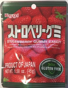 """It's so ominous and unsettling. """"Kasugai strawberry gummy candy is very delicious. Please have a fun time with this strawberry gummy candy."""" It sounds like a poison but it's actually really good Strawberry Juice, Fruit Juice, Candied Lemons, Snack Recipes, Snacks, Free Candy, Jelly Beans, Yummy Treats, Tasty"""