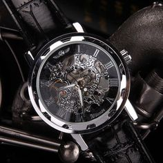 Bestselling Classic Men's Black Leather Mechanical Watch – selfieshopexpress