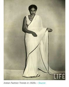 indian-woman-in-white-old-saree-trends Lovely isn't it. am just loving the saree a alot Vintage India, Vintage Ads, Vintage Style, Vintage Dresses, Vintage Fashion, Textile Industry In India, Modern Sari, 1920s Aesthetic, Indian Fashion Trends