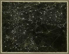 "Victoria Burge, Ben's Map, 2012 (Ink, Acrylic, Pencil, Map) 35"" X 44"""