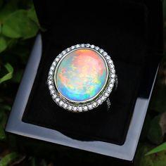 Round Australian Opal Halo Ring with Diamonds White Gold White Gold Diamonds, Colored Diamonds, Natural Diamonds, Opals For Sale, Australian Opal, Halo Rings, Black Rings, Gemstones, Jewelry