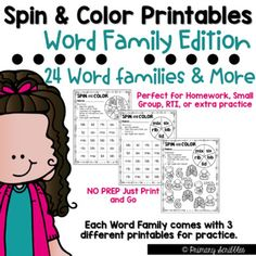 Spin and Color {Word Family Edition} Printables Daily 5 Activities, Guided Reading Activities, Sight Word Activities, Back To School Activities, Teaching Reading, Fun Learning, Motivational Activities, Cvc Word Families, Teaching Sight Words