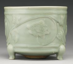 A 'LONGQUAN' CELADON MOLDED TRIPOD CENSER, SOUTHERN SONG DYNASTY Celadon, Pottery Sculpture, Chinese Ceramics, Porcelain Jewelry, Ancient China, Incense Burner, Objet D'art, Chinoiserie, Asian Art