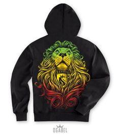 Cecil the lion with rasta colors Rasta Pictures, Mens Sweatshirts, Hoodies, Rasta Colors, Best T Shirt Designs, Man Child, Zip Hoodie, Cool T Shirts, Mens Fashion