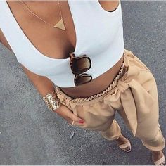White Crop top, beige high waisted tapered pants, beige heeled sandals