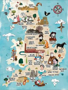 Literary England Interactive Map by VisitEngland gorgeous map Downton Abbey Set, Literary Heroes, Literary Travel, Map Of Britain, Visit Britain, England Map, Visit England, London England, Canterbury Tales