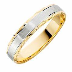 18ct Yellow & White Gold Wedding Ring Width 4mm