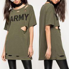 Fashion Letter Print Holey T-shirt Dress T Shirt World, Womens Fashion Online, Baddie, Amazing Women, Letter, Jumpsuit, Lingerie, Shirt Dress, Chic