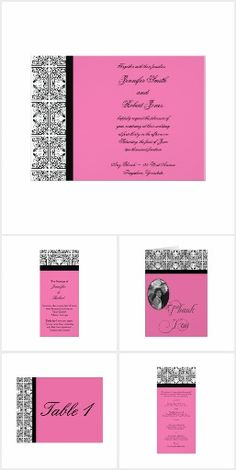 Vintage damask in black and white decorates this elegant modern wedding invitation with floral pink background design giving your wedding invitations a touch of class. Elegant Modern Wedding, Damask Wedding, Modern Wedding Invitations, Invitation Set, Wedding Suits, Reception, Black And White, Floral, Pink
