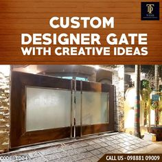 SS Gate Glass Panels with HPL sheet Borders Modern Concept House Main Gates Design, Front Gate Design, Duplex House Design, Stainless Steel Gate, Compound Wall Design, House Architecture Styles, Metal Gates, Front Gates, Glass Panels