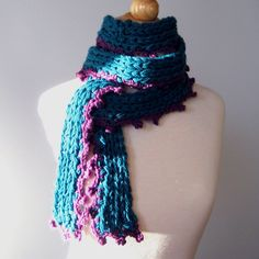 Teal and Purple Knitted and Crocheted Scarf