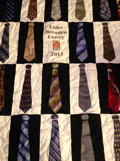 My missionary quilt! ~Fun use of ties, esp for a fella retiring and no longer needing them.  (don't think those are ties, but you could use real ones.)  ~m
