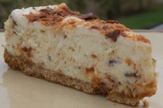 Butterfinger cheesecake Replaced the graham cracker crust with crushed nutter butters...insanely delish!!