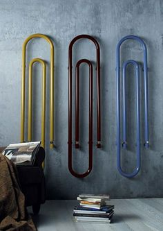 "Paper clip radiators! I'm going to file this under 'appliances'. These colourful radiators become wall art, rather than ""clunky ugly utilitarian heating system"". And they take up very little depth on the walls."
