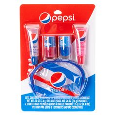 Can't get enough Pepsi? Now you can with this Pepsi flavored and scented beauty products. Set contains 2 flavored lip glosses, 2 scented nail polishes Lip Gloss Colors, Lip Colors, Lip Sence Colors, Chapstick Lip Balm, Eos Lip Balm, Lip Balms, Gloss Labial, Flavored Lip Gloss, Nice Lips