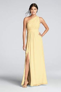 A one shoulder chiffon David's Bridal bridesmaid dress in canary yellow for your 'maids!