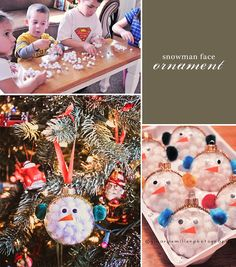 Cute and easy snowman ornaments! I had a Christmas craft party with the neighbor kids and they loved these!! We used fake snow on the inside.