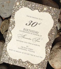 Glitter Birthday Invitations Sweet 16 by SoireeCustomPaperCo 30th Party, 30th Birthday Parties, Birthday Celebration, Anniversary Invitations, Anniversary Parties, Party Invitations, Invites, 21st Birthday Invitations, Glitter Invitations