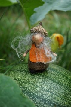 tiny Acorn Gnome about 3""