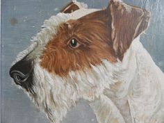 Antique French Oil Painting.  Vintage Dog by AngelFrenchAntiques