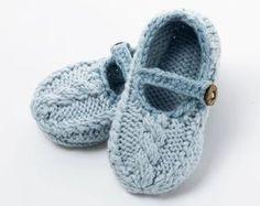 Patrón de zapato de bebé punto Cable zapatos por JuliaAdamsPatterns