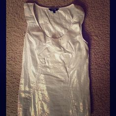 Sassy silver/white tank top Adorable Express tank top with ruffles around the front of the neck and a zipper on the side. Express Tops Tank Tops