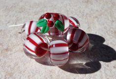 Christmas Lampwork beads