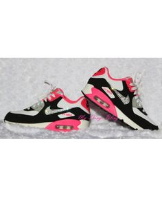pick up 54b85 e235f Nike Air Max 90 (GS) Swarovski Crystals - White Mtllc Slvr - Blk - Hypr Pnk  Sneakers Clearance Sale
