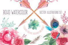 @newkoko2020 Boho watercolor by Eisfrei on @creativemarket #feminine #watercolor #female #branding #brand #style #women
