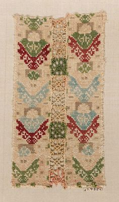 Skirt decoration (one of two fragments) Greek (Cyclades, Anaphe or Siphnos) century Object Place: Anaphe or Siphnos, Cyclades, Greece Museum of Fine Arts, Boston Folk Embroidery, Cross Stitch Embroidery, Greek Traditional Dress, Greek Design, Museum Of Fine Arts, Textiles, Bohemian Rug, Needlework, Weaving