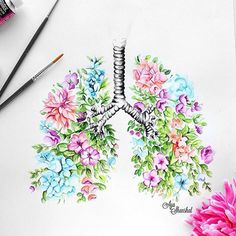 You guessed it right it's a floral lungs prints available on my Etsy shop (direct link in my bio) by ayashanshal Unique Tattoos, Small Tattoos, Flower Tattoos, Medical Art, Anatomy Art, Heart Art, Art Plastique, Lunges, Sleeve Tattoos