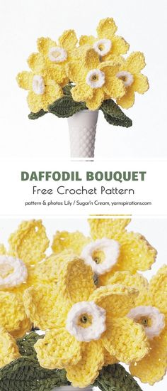 Who has ever crocheted a whole bouquet of blooming flowers? If you haven't experienced this fun process before, this spring is certainly the time! This pattern by the genius team creating for Yarnspirations will guide you to success. #crochetflower #crochetdaffodil #crochetdecor #crochetflowers #freecrochetpattern #crochetpattern Crochet Gifts, Crochet Toys, Free Crochet, Butterfly Flowers, Blooming Flowers, Butterflies, Crochet Flower Tutorial, Crochet Flowers, Knitting Projects