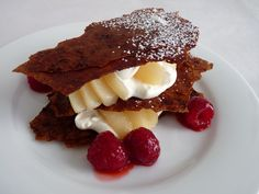 :pastry studio: Chocolate Phyllo Napoleons with Pear and Raspberries
