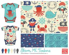 Pirate surface pattern design geared towards baby and children's markets. Textile Patterns, Print Patterns, Stoff Design, Kids Prints, Surface Pattern Design, Cute Illustration, Nautical Theme, Kids Playing, Print Design
