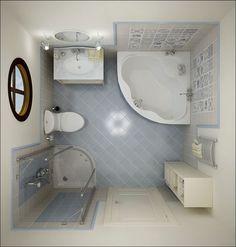 Bathroom Designs: Tiny Bathroom Ideas White Corner Bath Up Light Blue Bathroom Floor, Apartment, Design ~ DickOatts