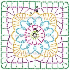 Crochet Granny Square Cuadrado fácil de tejer a crochet (granny square)! very pretty - made up in plain white yarn flower inside square Crochet Motif Patterns, Crochet Symbols, Granny Square Crochet Pattern, Crochet Diagram, Crochet Chart, Knitting Patterns, Crochet Squares, Point Granny Au Crochet, Crochet Blocks
