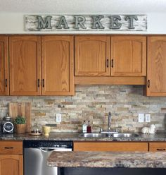 market sign oak kitchen cabinets little dekonings