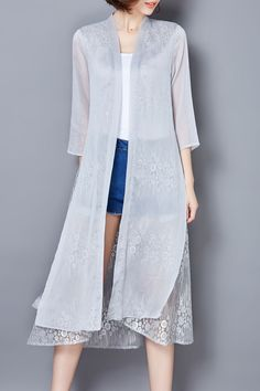 LUSHIJIAO Solid Color Lace Splicing Outerwear Blouse