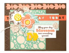 """""""May Your Day Blossom"""" card using the Cricut® Artbooking Collection. Create baker's twine wheels using metallic baker's twine and Liquid Glass. #CTMH"""