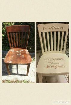 This vintage library chair got a french shabby chic facelift, by adding some appliques and a french stencil.