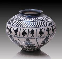 Sgrafitto+5 by Ron+Mello: Ceramic+Vessel available at www.artfulhome.com