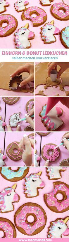 """Einfaches Lebkuchen Rezept: Einhorn & Donut Lebkuchen backen! In der Weihnachtszeit gibt's für mich nichts besseres, beim Geruch von Zimt muss ich immer an meine Kindheit denken, hihi! Heute zeige ich euch eine ziemlich außergewöhnliches Rezept: Einhorn und Donut Lebkuchen! Wie genial ist das denn? Ich finde, das ist mal eine tolle Abwechslung zu """"normalem"""" Weihnachtsgebäck und macht außerdem super viel Spaß zu verzieren."""