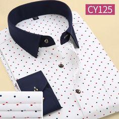 Men s Fashion Slim Long-Sleeve Casual Polyester Dress Shirt S-4XL 6 Colors e7a0a6d175