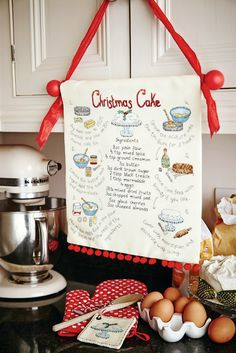 Scrumptious stitching: Stitch a delicious Christmas cake recipe wall hanging by Angela Poole. Find it on page 22 of our November 242 issue of Cross Stitch Collection: http://www.crossstitchcollection.com/find-us/