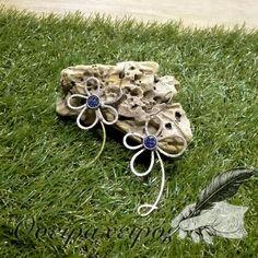 Χειροποίητα σκουλαρίκια  λουλούδι με μπλε χάντρα