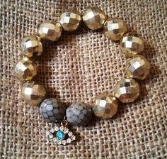 Evil Eye Charm Bracelet-Czech Glass Stones Bracelet-Gold & Brown Beaded Bracelet-Santorini Jewelry for Good Luck €48.00
