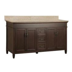 Foremost, Ashburn 61 in. x 22 in. Vanity in Mahogany with Beige Granite Vanity Top with Double White Bowl, ASGABG6122D at The Home Depot - Mobile