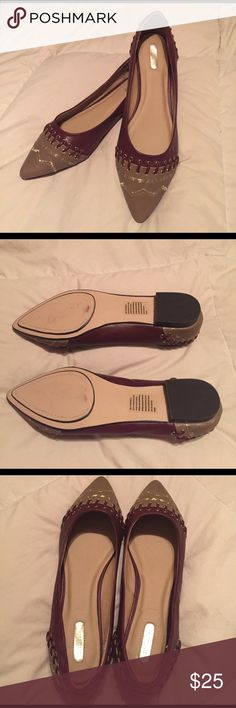 Detailed Flats Burgundy and tan flats with stitched designs and lacing detail. Excellent condition. Mark. Shoes Flats & Loafers
