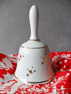 Vintage Porcelain Holiday Bell, Reutter Porzellan of Germany, White with Gold Stars & Trim. Christmas Bell, Vintage Holiday Decor - pinned by pin4etsy.com