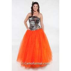 3658 Camo ball gown features a dropped waist and layers of net on the full skirt. Shown in Mossy Oak New Breakup and Hunter's Orange. Available in many net colors and all camo patterns in sizes 2-30